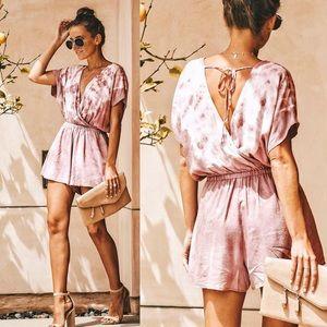 Pants - Tie-Dye Surplice Short Kimono Sleeve Romper Mauve